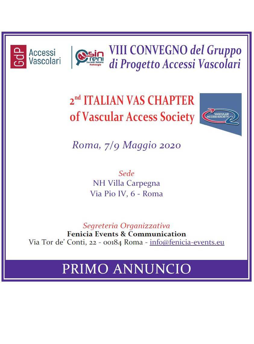 VIII CONVEGNO del Gruppo di Progetto Accessi Vascolari - Roma, 7/9 Maggio 2020